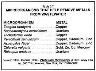Composting: Chart of microorganisms that help remove metals from wastewater