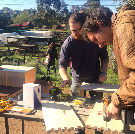 Building beehives at CERES Environmental Park, Melbourne (2015)