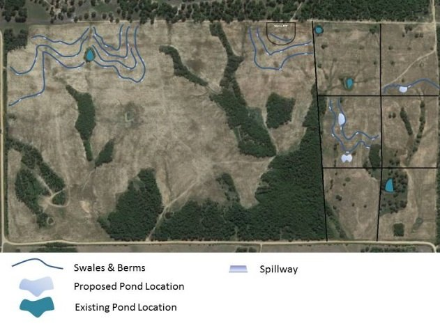 Here is a view of the entire 320 acres with the location of the swales and existing and proposed pond locations. This is just the beginning. The plan is to put in many more swales, ponds and also keyline the entire farm.