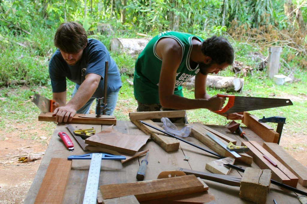 The apprentice team focused on their furniture joinery.