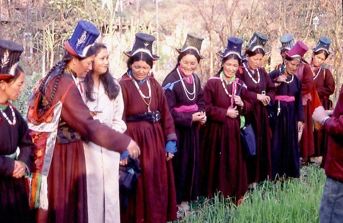 "Women from the Ladakh Ecological Development Group  (started by Helena Norburg Hodge, and featured in her film/book ""Ancient Futures"") who, on their annual pilgrimage to Buddhist stupas in Kathmandu, regularly visited Sunrise Farm  to view the demonstrations and receive training."