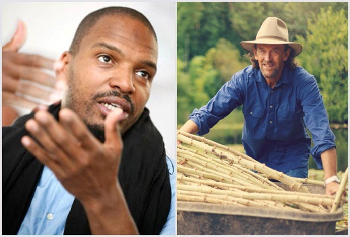 Rhamis Kent on the left. Geoff Lawton on the right.