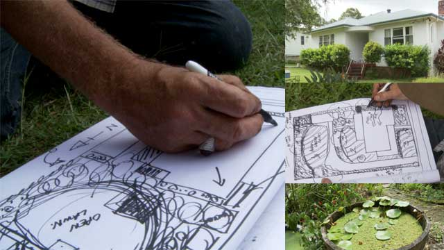 Geoff Lawton sketching solutions to backyard problems.