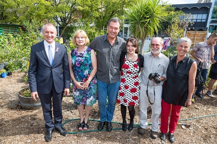 The Premier, Prof Hilary Winchester, Prof Drew Dawson, Dr Chiveralls, Graham Brookman and Annemarie Brookman (from CQUni Adelaide's community engagement commitee)