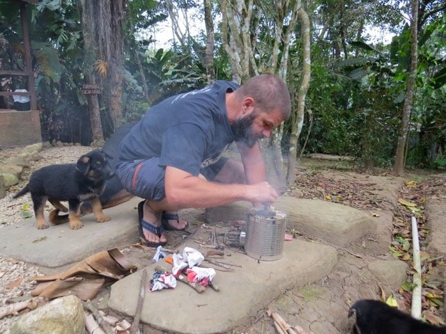 First Run on the Rocket Stove (Emma Gallagher)