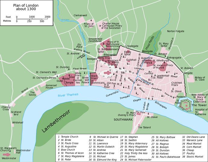 Map of London AD 1300: Grandiose: CC 3.0