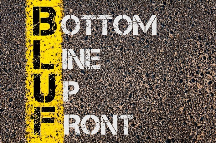 Business Acronym BLUF as Bottom Line Up Front