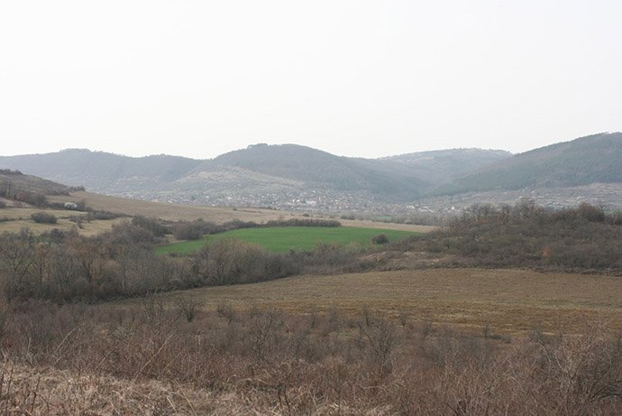 Bostan Bair - A view from one of the three hills on the site.  An 80 ha neglected plum orchard.