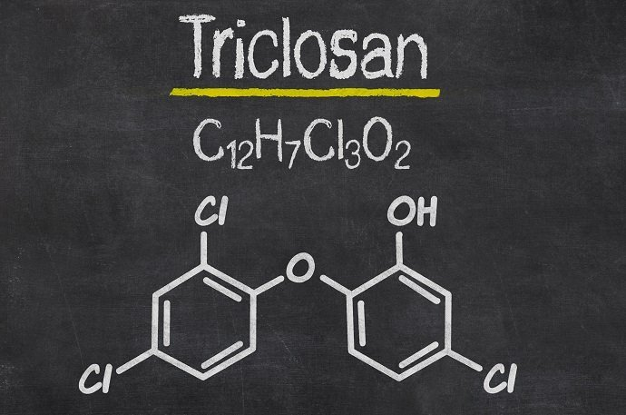 Blackboard with the chemical formula of Triclosan