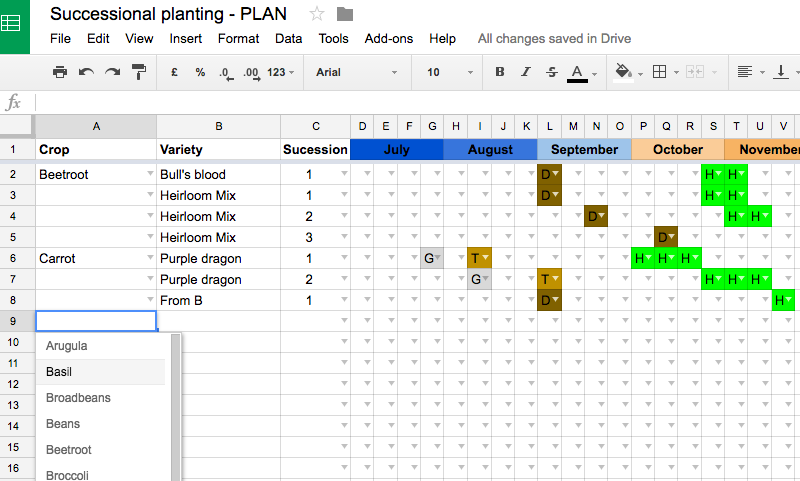Successional Planting Spreadsheet Tool 02