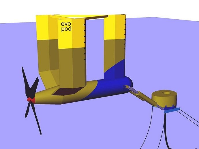 Tidal Turbine: Ocean Flow Energy: Free Use with Acknowledgement