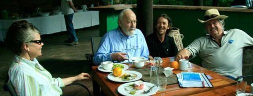 From Left, Lisa Mollison, Bill Mollison (hungry and eyeing an orange),  Geoff Lawton and Lindsay Smith-Moir.