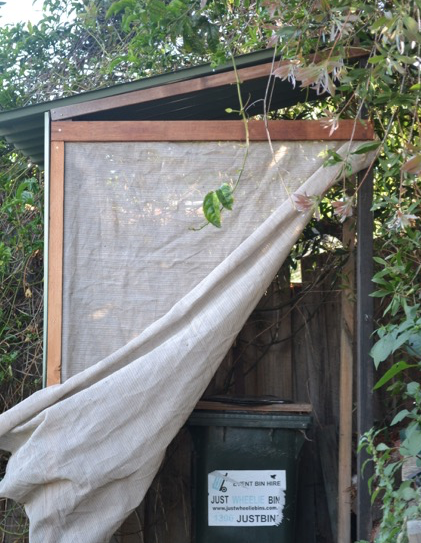 Composting loo in the corner. It doesn't seem right to defecate into drinking quality water and wash away nutrients. Better to close the nutrient cycle.