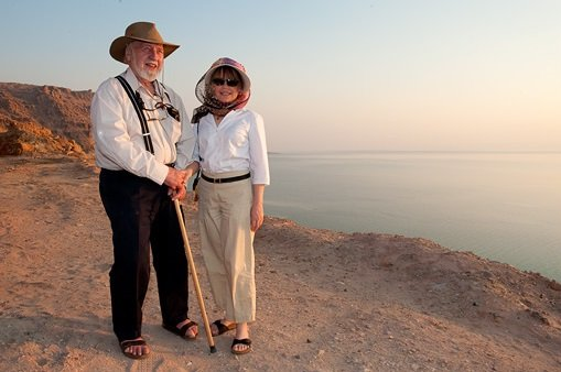Bill and Lisa Mollison at the  Dead Sea, Jordan.