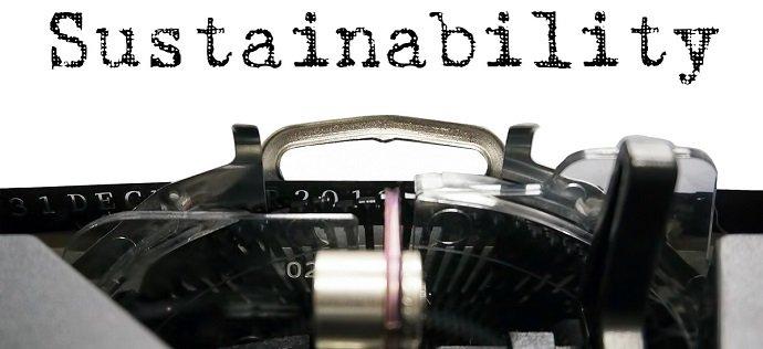 Sustainability home on typewriter