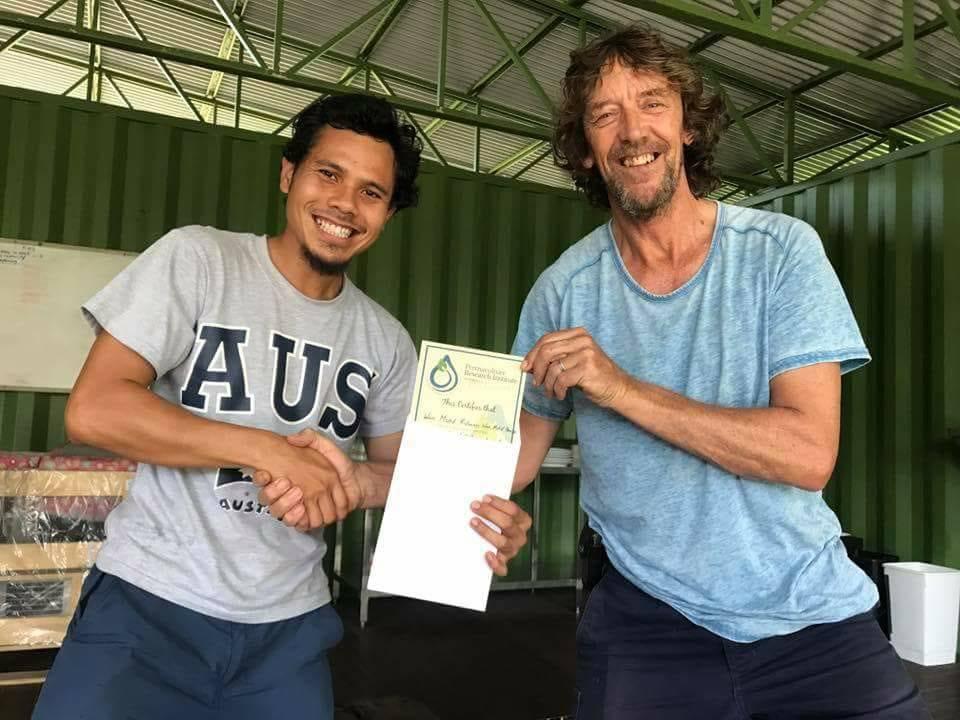Wan Ridhwan Hanizan with Geoff Lawton at Zaytuna Farm