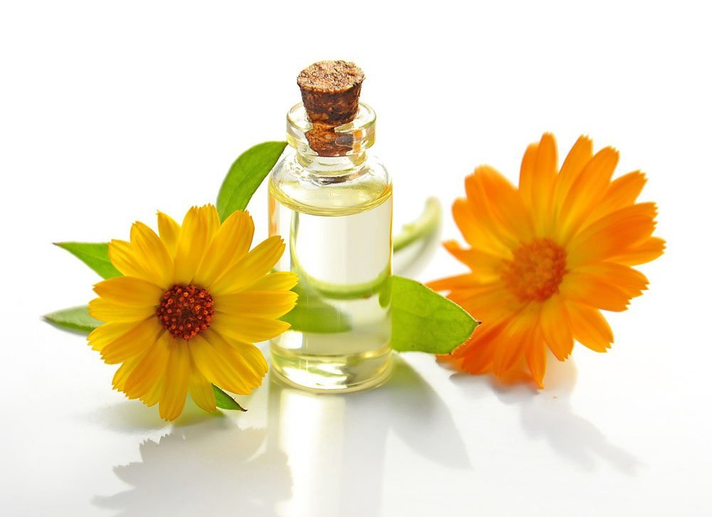 Calendula essential oil with calendula flowers