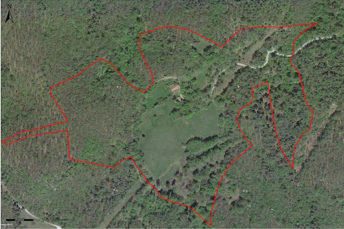 Satellite photo of the 10 hectares property in Cairo Montenotte,località Moglie Bertei (SV)