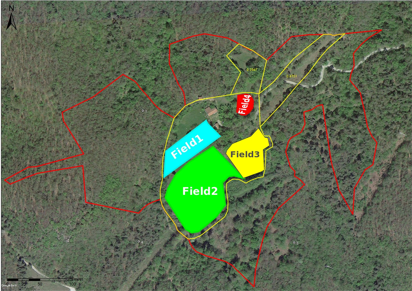 These are the areas to develop with this design for a total of 2 hectares circa